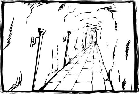 Long unlit dungeon passage with stone block floor outline sketch