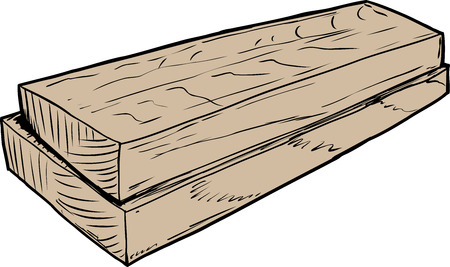 Sketch of two stacked wooden boards from cut lumber Illustration