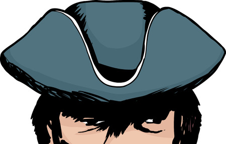 Eyes of face in partial shadow of tricorn hat Illustration