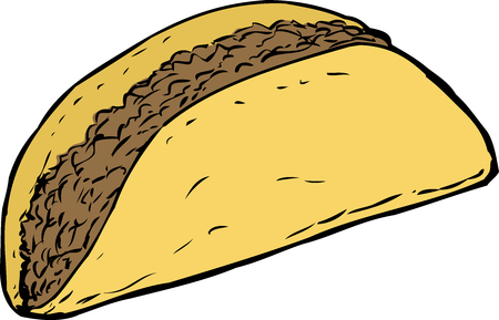 ground beef: Yellow cartoon corn taco shell filled with beef over white background