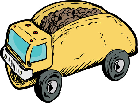 ground beef: Funny play on words of beef corn taco as dump truck over white background