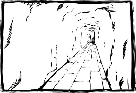 Outline sketch of long empty underground hallway with staircase at other end