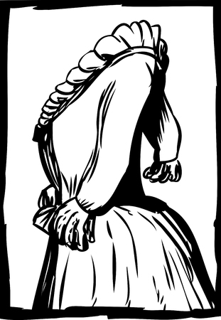 Side view of 18th century dress with pleated collar Illustration
