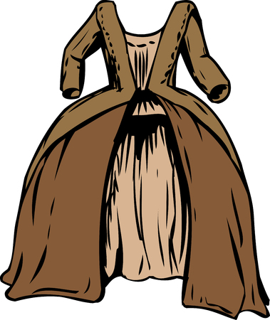 Round gown or court dress from 18th century fashion