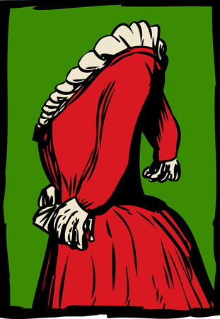 side view: Side view of red 18th century dress with pleated collar