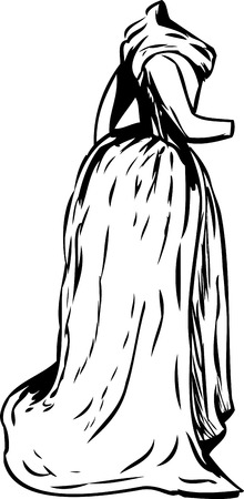 18th: Outlined side view of 18th century long dress with scarf over white Illustration