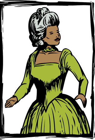 Pretty Asian woman in green colored 18th century dress with drop down skirt