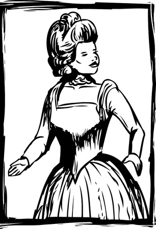 distinguished: Outline of woman looking over shoulder and dressed in 18th round gown Illustration