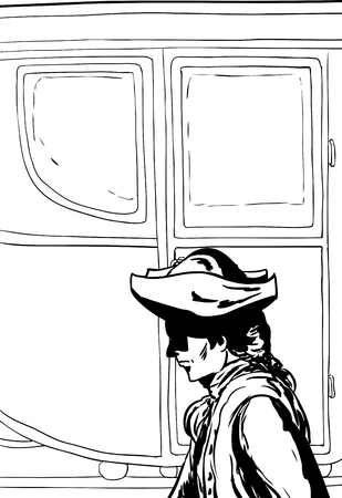 tricorne: Outlined side view of 18th century man in hat walking past fancy empty buggy