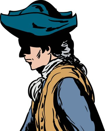 Side view of 18th century man in tricorn hat over white