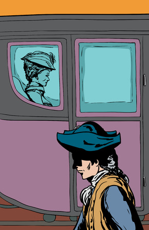 Man in tricorn hat walking past wealthy 18th century woman carriage with glass windows