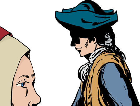 Isolated side view of man and woman in 18th century clothing walking past each other Illustration