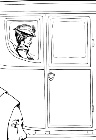 Outlined peasant woman compared to wealthy 18th century woman seated in luxurious carriage with glass windows