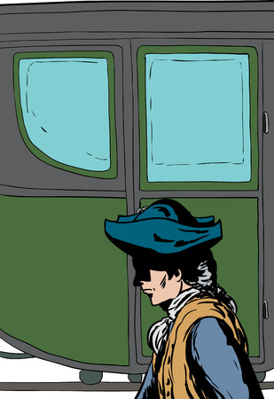 Side view of 18th century man in hat walking past fancy empty buggy