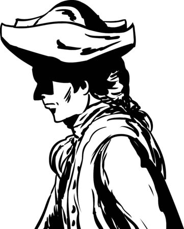 Outlined side view of 18th century man in tricorn hat over white Illustration