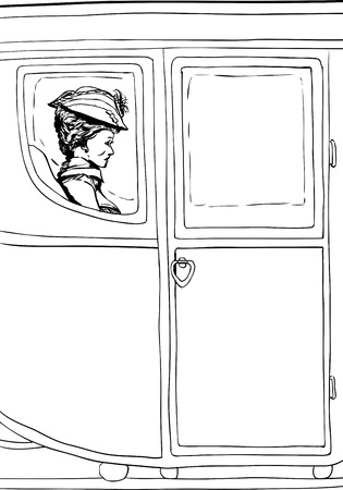 Outline of wealthy 18th century woman seated in luxurious carriage with glass windows Illustration