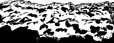 waste heap: Outline illustration of clump of soil or rocky mining slag heap Illustration