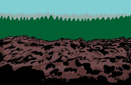 waste heap: Rocky slag heap mine illustration with trees in background Illustration