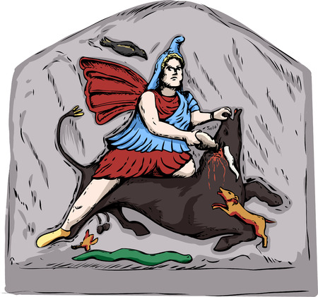 Forensic reconstruction illustration of Mithras slaying of a black bull from 4th century stone carvings in Jajce, Bosnia Ilustração