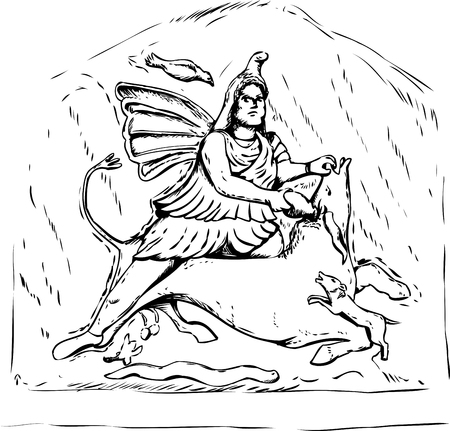 Outlined forensic reconstruction of Persian god Mithras slaying of a black bull from 4th century stone carving in Jajce, Bosnia Stock Illustratie