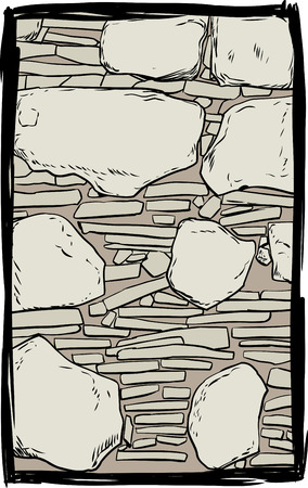 filled: Old stone and dirt filled wall inside sketched frame