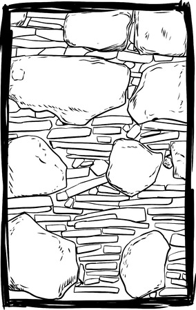 Outlined old stone and dirt filled wall inside sketched frame