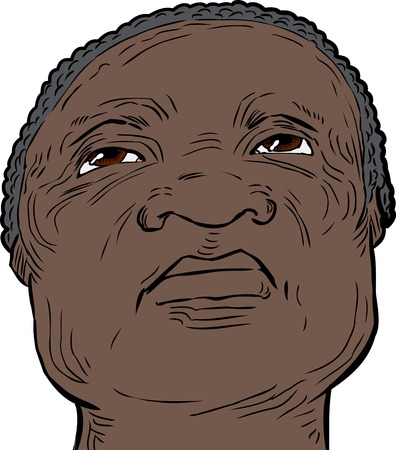 serious: Low angle view on front of African senior man looking upward