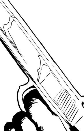 cocking: Outline illustration of close up on finger in trigger of automatic pistol Illustration