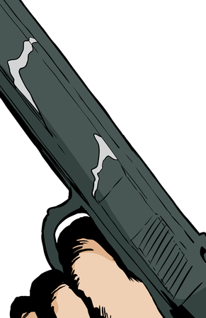 Illustration of close up on finger in trigger of handgun Illustration