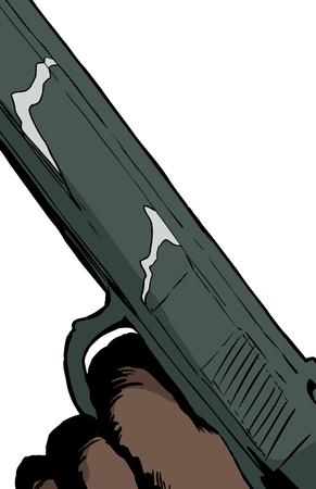 cocking: Illustration of close up on finger in trigger of automatic pistol