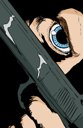 Extreme close up on obscured face with blue eye holding pistol under eye