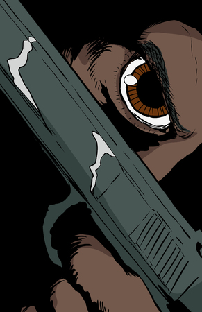 Extreme close up on obscured face holding pistol under brown eye