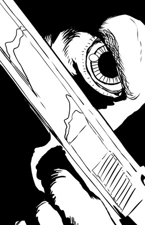 cocking: Outlined illustration of extreme close up on obscured face holding pistol under eye