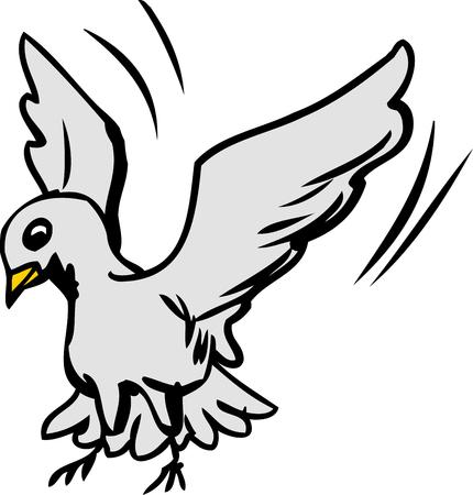 흰색 배경 위에 토지로 날개를 퍼덕 거리는 단일 귀여운 만화 비둘기