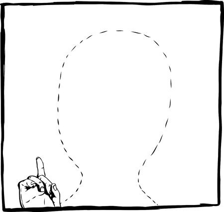 Outline space with dotted line for head of person. Includes finger pointing up. Illustration