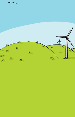Cartoon background of three wind turbines on side of green rolling hills with copy space Иллюстрация