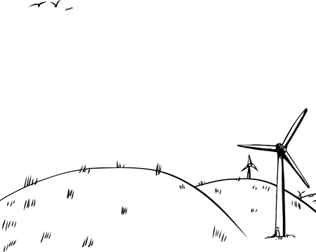 Cartoon background of three wind turbines on side of rolling hills with birds in background