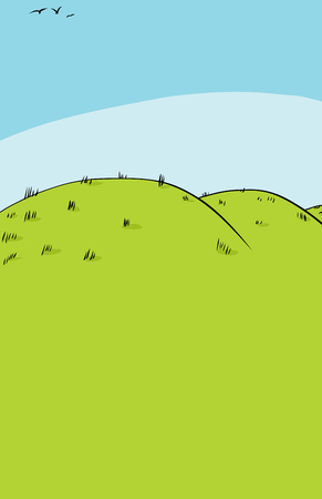 Cartoon background of rolling hills with three birds flying in the sky