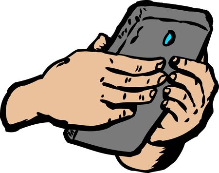instant messaging: Pair of hands typing something on cell phone over white background