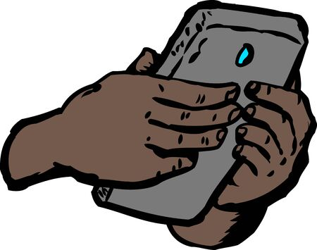 Two hands of dark skin typing on cell phone over white background