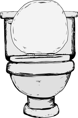 Single hand drawn toilet with open lid from front view