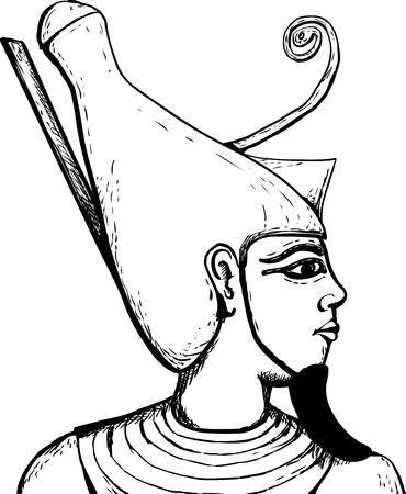 Outlined side view of ancient Egyptian god Atum over white.