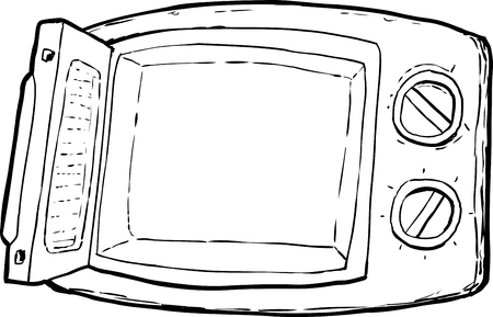 Outlined open cartoon microwave oven with control dials over white background.