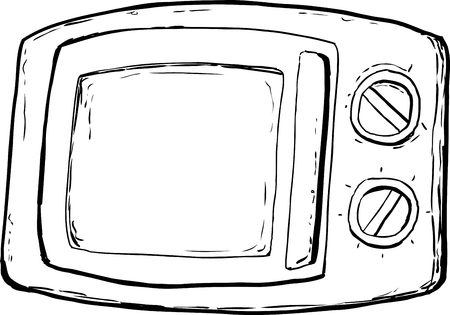 Outlined microwave oven with closed door and control dials over white background. Ilustrace