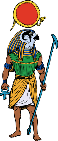 Illustration of the ancient Egyptian god Rah with staff and sun disk.