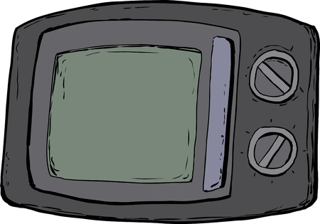 Cartoon microwave oven with closed door and control dials over white background. Ilustrace