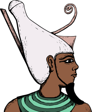 Illustrated side view of ancient Egyptian god Atum over white.