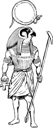 Outline illustration of the ancient Egyptian god Rah with staff and Sun disk.