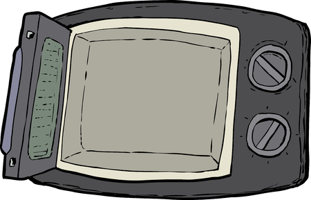 Open cartoon microwave oven with control dials over white background.