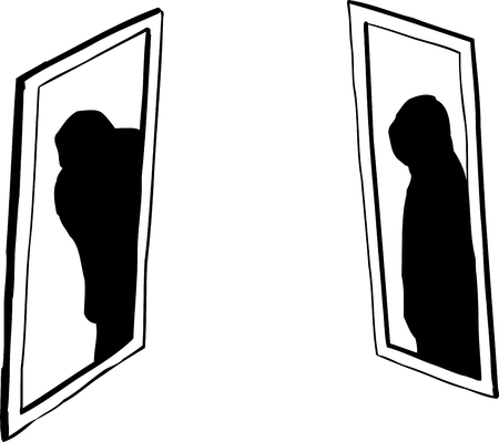 Shadowy figures in pair of windows over white background